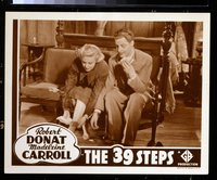#216e 39 STEPS #6 lobby card R38 Robert Donat & Carroll cuffed!!