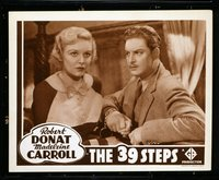 #216b 39 STEPS #3 lobby card R38 Robert Donat & Carroll close up!!