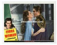 #118c COBRA WOMAN #3 lobby card '44 Maria Montez embrace close up!!