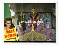 #118g COBRA WOMAN #7 lobby card '44 Maria Montez in wild headdress!!