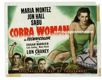 #118a COBRA WOMAN title lobby card '44 Sabu, Maria Montez, Lon Chaney!