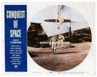 #302 CONQUEST OF SPACE lobby card #1 '55 ship landing on Moon!!