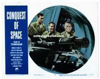 #304 CONQUEST OF SPACE lobby card #2 '55 astronauts in ship!!