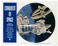 #301 CONQUEST OF SPACE lobby card #3 '55 space walking by wheel!!