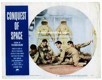 #307 CONQUEST OF SPACE lobby card #4 '55 wounded astronaut!!