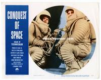 #303 CONQUEST OF SPACE lobby card #7 '55 close up of astronauts!!