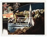 #289 DESTINATION MOON lobby card #5 '50 cool spaceship on moon!!