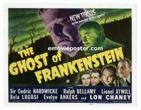 #007 GHOST OF FRANKENSTEIN title lobby card '42 Lon Chaney Jr, Lugosi!