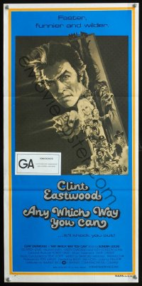 1131FF ANY WHICH WAY YOU CAN Aust daybill '80 cool artwork of Clint Eastwood & Clyde by Bob Peak!