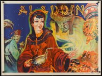 1643UF ALADDIN stage play British quad '30s stone litho of female lead with lamp & treasure!
