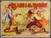 1644UF BABES IN THE WOOD stage play British quad '30s stone litho of kids watching men duelling!