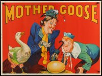 1647UF MOTHER GOOSE stage play British quad '30s cool stone litho art of mom, goose & golden egg!