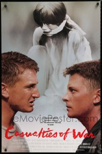 1549UF CASUALTIES OF WAR int'l 1sh '89 Michael J. Fox argues with Sean Penn, Brian De Palma, Vietnam