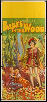 1504TF BABES IN THE WOOD stage play English 3sh '30s stone litho of female hero finding lost kids!