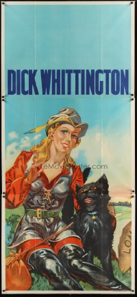 1506TF DICK WHITTINGTON stage play English 3sh30s cool stone litho of sexy female lead &smiling cat!