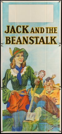1507TF JACK & THE BEANSTALK stage play English 3sh '30s stone litho art of female Jack & giant!
