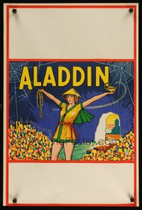 1654UF ALADDIN stage play English double crown '30s stone litho of female lead w/lamp & treasure!