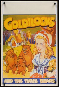 1655UF GOLDILOCKS & THE THREE BEARS stage play English double crown '30s cool stone litho art!