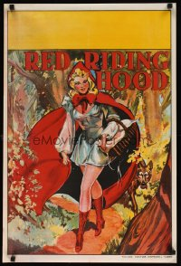 1656UF RED RIDING HOOD stage play English double crown '30s stone litho art of sexy Red!