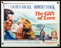 0627FF GIFT OF LOVE 1/2sh '58 great romantic close up art of Lauren Bacall & Robert Stack!