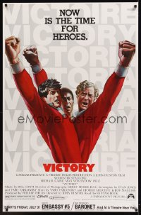 0446UF VICTORY half subway '81 John Huston, art of soccer players Stallone, Caine & Pele by Jarvis!