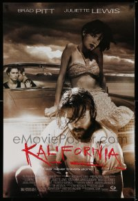 2212UF KALIFORNIA 1sh '93 bearded Brad Pitt, sexy Juliette Lewis, fear never travels alone!