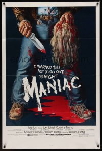 0998TF MANIAC 1sh '80 most classic gory Gaia horror artwork of killer holding severed head!