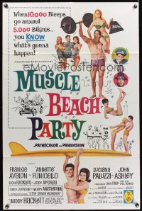 1003FF MUSCLE BEACH PARTY 1sh '64 Frankie & Annette, 10,000 biceps & 5,000 bikinis!