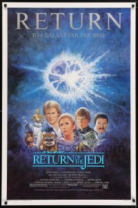2323UF RETURN OF THE JEDI studio style 1sh R85 George Lucas classic, Mark Hamill, Ford, Tom Jung art
