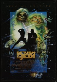 1612UF RETURN OF THE JEDI style E advance 1sh R97 George Lucas classic, cool Drew Struzan art!