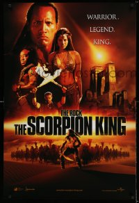 2346UF SCORPION KING int'l teaser DS 1sh '02 The Rock is a warrior, legend, king, cool orange design