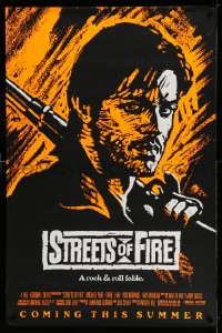 2382UF STREETS OF FIRE advance 1sh '84 Walter Hill, Riehm orange dayglo art, a rock & roll fable!
