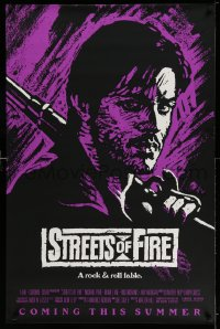 2384UF STREETS OF FIRE advance 1sh '84 Walter Hill, Riehm purple dayglo art, a rock & roll fable!