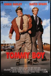 1634UF TOMMY BOY int'l 1sh '95 great full-length image of screwballs Chris Farley & David Spade!