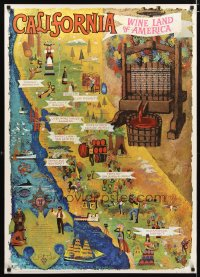 1670UF CALIFORNIA - WINE LAND OF AMERICA travel poster '60s cool map art by Amado Gonzalez!