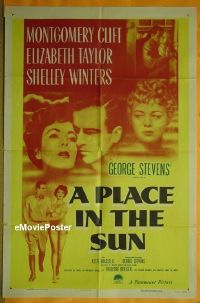 #495 PLACE IN THE SUN 1sh '51 Clift, Taylor