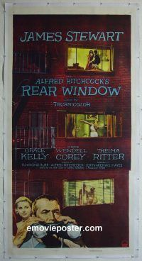 e024 REAR WINDOW linen three-sheet movie poster '54 Alfred Hitchcock, Stewart
