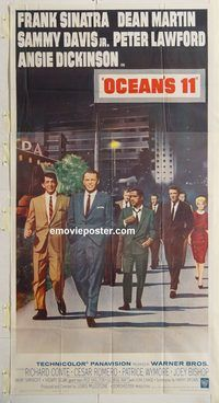 p001 OCEAN'S 11 three-sheet movie poster '60 Sinatra, classic Rat Pack!