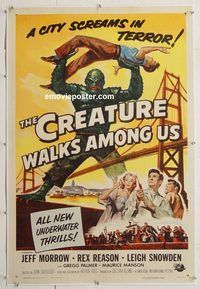 p368 CREATURE WALKS AMONG US linen one-sheet movie poster '56 great sequel!