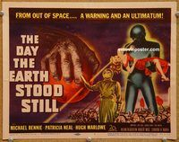 p008 DAY THE EARTH STOOD STILL title lobby card '51 Michael Rennie