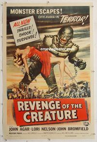 p530 REVENGE OF THE CREATURE linen one-sheet movie poster '55 Reynold Brown