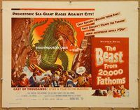 y071b BEAST FROM 20,000 FATHOMS half-sheet movie poster '53 Bradbury