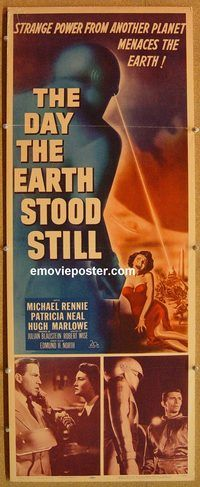 w156 DAY THE EARTH STOOD STILL insert movie poster '51 classic!
