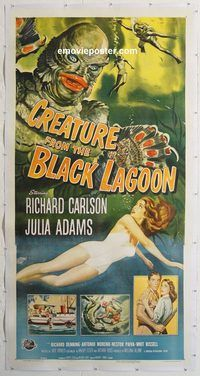 d009 CREATURE FROM THE BLACK LAGOON linen three-sheet movie poster '54 classic!