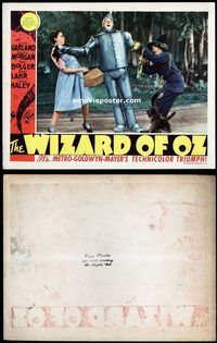 d004 WIZARD OF OZ movie lobby card '39 Tin Man falling on Dorothy!