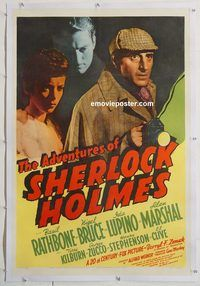 d014 ADVENTURES OF SHERLOCK HOLMES linen one-sheet movie poster '39 Rathbone