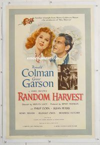 d031 RANDOM HARVEST linen one-sheet movie poster '42 Ronald Colman, Garson