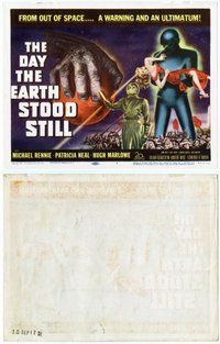 s188 DAY THE EARTH STOOD STILL movie title lobby card '51 best 1950s sci-fi!