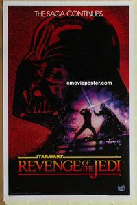 f025 RETURN OF THE JEDI undated 'Revenge' teaser one-sheet movie poster '83