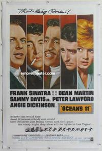 k386 OCEAN'S 11 linen one-sheet movie poster '60 Sinatra, classic Rat Pack!